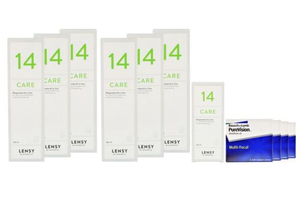 Pure Vision Multifocal 4 x 6 Monatslinsen + Lensy Care 14 Jahres-Sparpaket