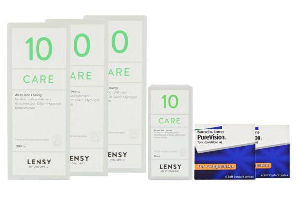 Pure Vision Toric 2 x 6 Monatslinsen + Lensy Care 10 Halbjahres-Sparpaket