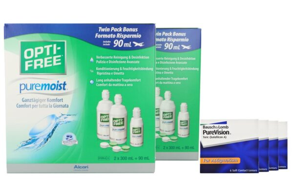 Pure Vision Toric 4 x 6 Monatslinsen + Opti Free Pure Moist Jahres-Sparpaket