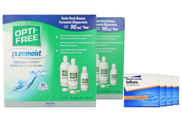 SofLens 66 Toric 4 x 6 Monatslinsen + Opti Free Pure Moist Jahres-Sparpaket