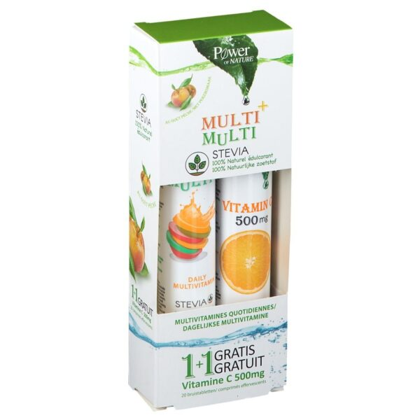 Power of Nature Multi+ Multi avec Stévia + Vitamine C 500 mg
