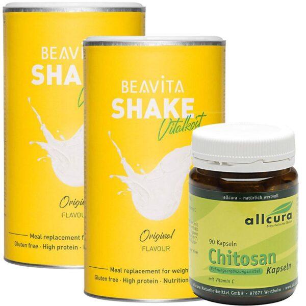 BEAVITA Fett-Weg-Diät Vitalkost Doppelpack + allcura Chitosan