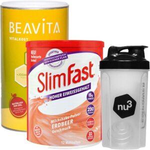 SlimFast Milkshake Fraise + BEAVITA Vitalkost Vanille + nu3 Shaker