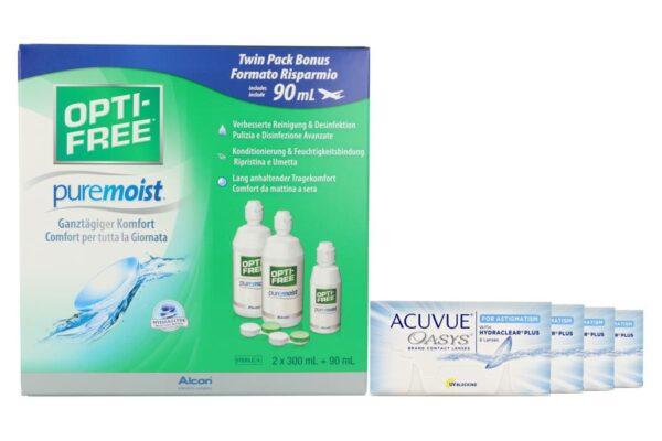 Acuvue Oasys for Astigmatism 4 x 6 Zwei-Wochenlinsen + Opti Free Pure Moist Halbjahres-Sparpaket
