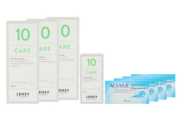 Acuvue Oasys for Presbyopia 4 x 6 Zwei-Wochenlinsen + Lensy Care 10 Halbjahres-Sparpaket