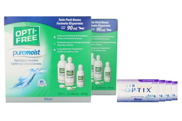 Air Optix Aqua Multifocal 4 x 6 Monatslinsen + Opti Free Pure Moist Jahres-Sparpaket