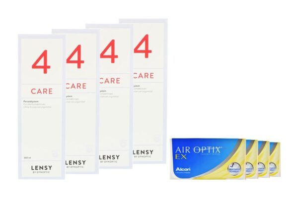 Air Optix EX 4 x 3 Monatslinsen + Lensy Care 4 Halbjahres-Sparpaket