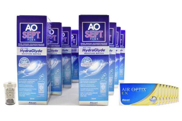 Air Optix EX 8 x 3 Monatslinsen + Aosept Plus HydraGlyde Jahres-Sparpaket