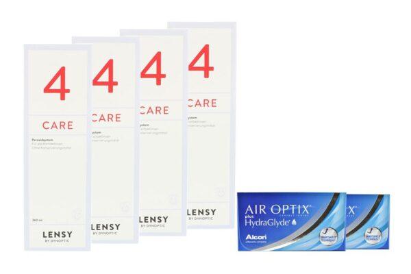 Air Optix plus HydraGlyde 2 x 6 Monatslinsen + Lensy Care 4 Halbjahres-Sparpaket