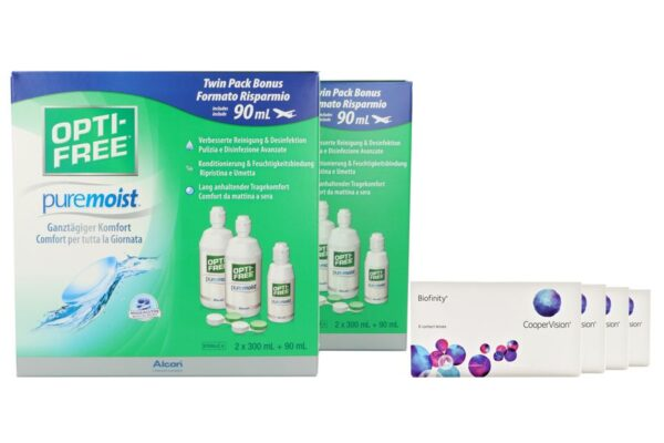 Biofinity 4 x 6 Monatslinsen + Opti Free Pure Moist Jahres-Sparpaket