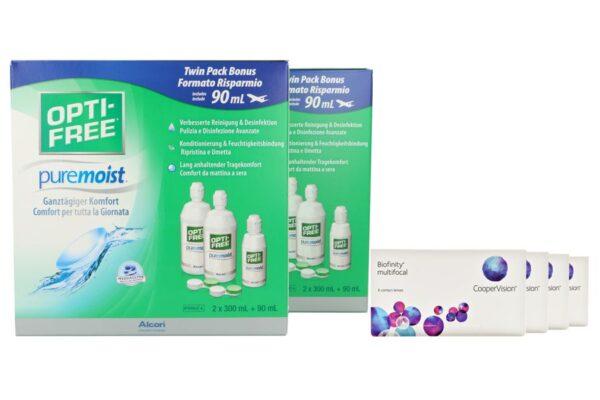 Biofinity multifocal 4 x 6 Monatslinsen + Opti Free Pure Moist Jahres-Sparpaket