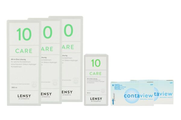 Contaview aberration control UV 2 x 6 Monatslinsen + Lensy Care 10 Halbjahres-Sparpaket