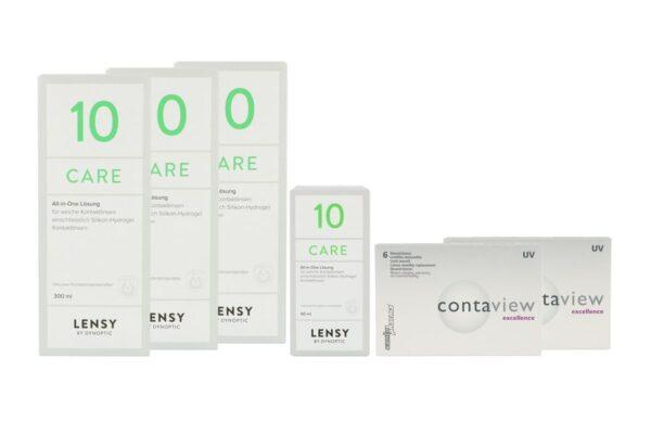 Contaview excellence UV 2 x 6 Monatslinsen + Lensy Care 10 Halbjahres-Sparpaket